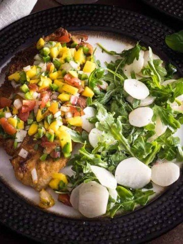 Pan-Fried Fish with Apricot Salsa and Arugula Salad
