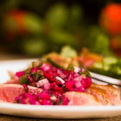 Seared Tuna With Dragon Fruit Salsa