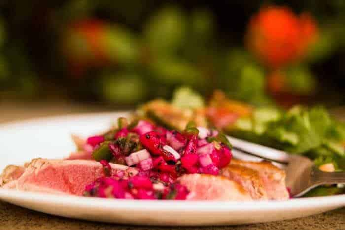 Seared Tuna with Dragonfruit Salsa