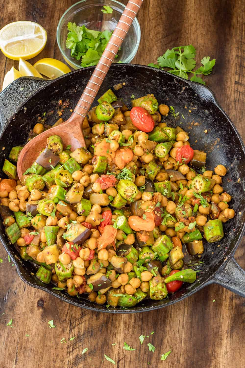 Curried Okra and Eggplant Skillet