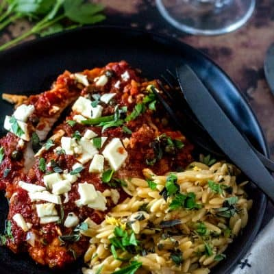 Baked Mediterranean Fish with Lemony Orzo