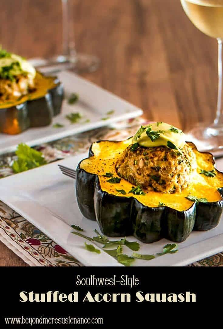 Southwest-Style Stuffed Acorn Squash Pinterest pin.
