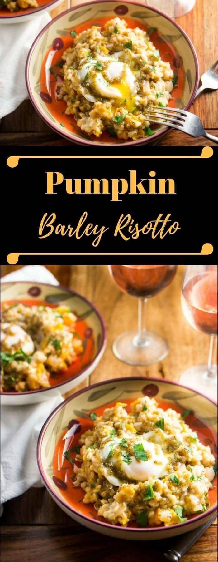 Pumpkin Barley Risotto - Pumpkin isn't just for pies and lattes! Roasted pumpkin, bleu cheese, and a sage pesto join barley in this robust and healthy vegetarian risotto! - A delicious, savory way to use a fall favorite - pumpkin. Pumpkin Barley Risotto isa rustic risotto replete with the flavors of sage, bleu cheese, roasted pumpkin, and walnuts. Topped with a farm fresh runny egg, what isn't there to like? fall recipes | vegetarian risotto | pumpkin risotto |
