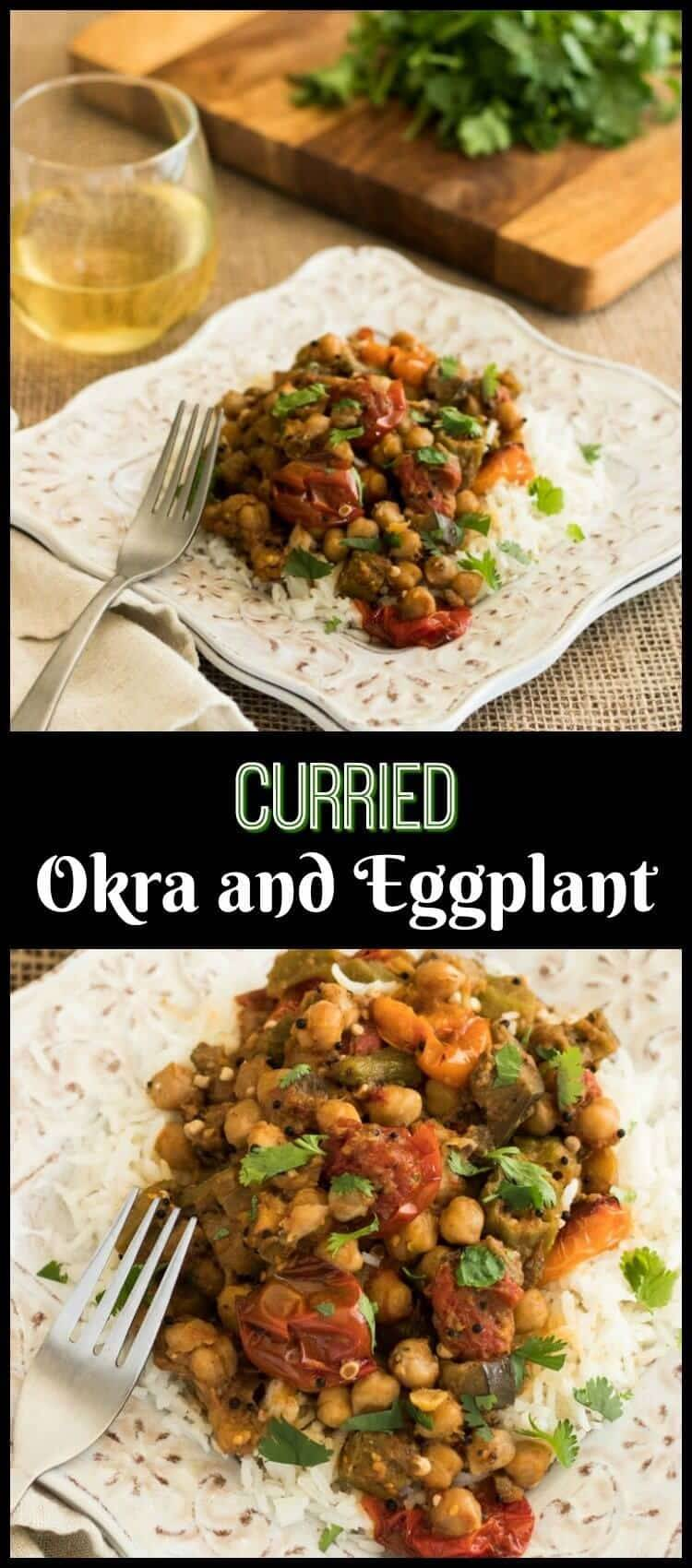 Curried Okra and Eggplant  - Warm Indian spices give farm-fresh vegetables an exotic flavor in this quick and healthy dish! Curried Okra and Eggplant incorporates approachable Indian curry cooking methods with farm-fresh veggies and protein and fiber rich chick peas for a healthy vegetarian meal served with rice or a tasty side dish with grilled fish or chicken... Vegetarian recipes | Side Dish recipes | Curry | Okra | Eggplant