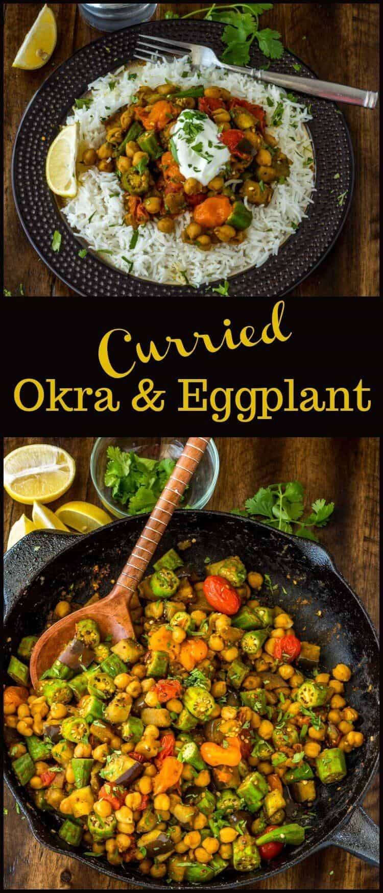 Curried Okra and Eggplant - Warm Indian spices give farm-fresh vegetables an exotic flavor in this quick and healthy dish! Curried Okra and Eggplant incorporates approachable Indian curry cooking methods with farm-fresh veggies and protein and fiber rich chick peas for a healthy vegetarian meal served with rice or a tasty side dish with grilled fish or chicken. Vegan | Gluten Free | Indian Cuisine | curry