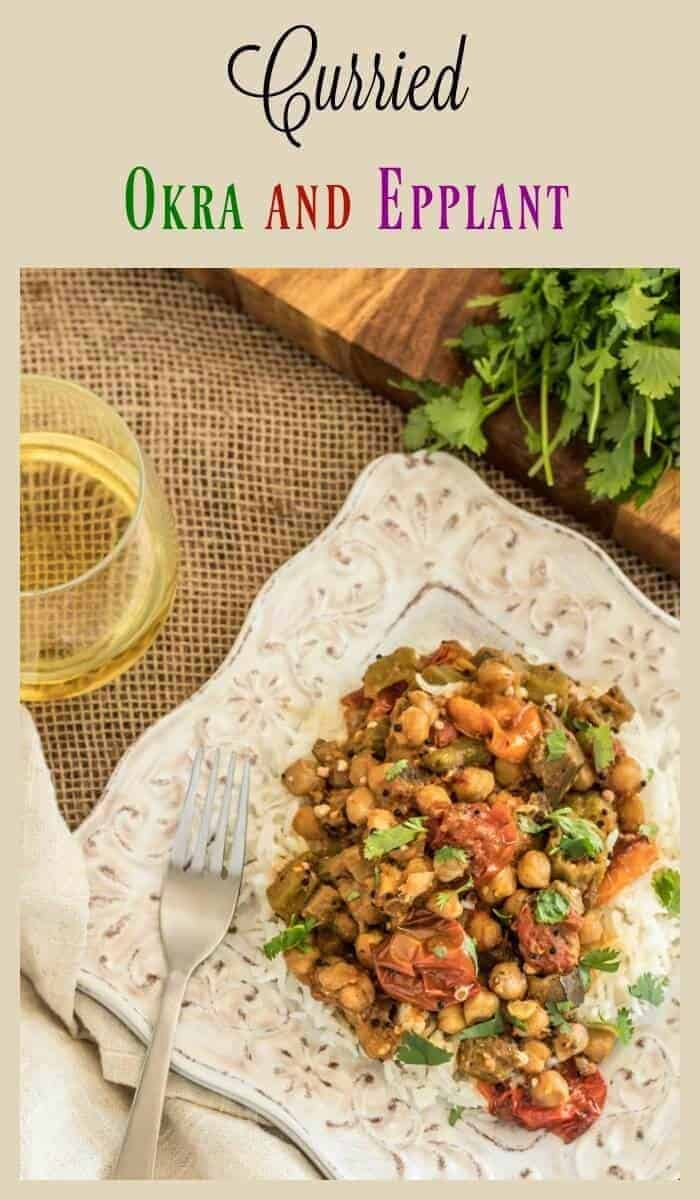 Curried Okra and Eggplant - a quick and approachable Indian vegetarian or side dish using garam masala, a paste of ginger, onion, garlic, and mustard seeds with farm fresh veggies and chick peas!
