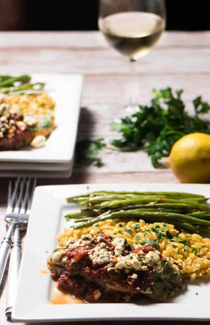 Mediterranean Fish and Lemony Orzo Plated