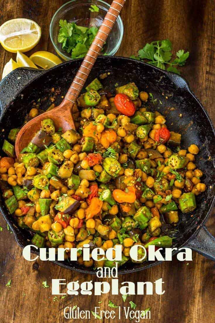 Warm Indian spices give farm-fresh vegetables an exotic flavor in this quick and healthy dish! Curried Okra and Eggplant incorporates approachable Indian curry cooking methods with farm-fresh veggies and protein and fiber rich chick peas for a healthy vegetarian meal served with rice or a tasty side dish with grilled fish or chicken. #GlutenFree #Vegan #CurryRecipe #Vegetarian #MeatlessMonday #eggplant #okra #summerrecipes