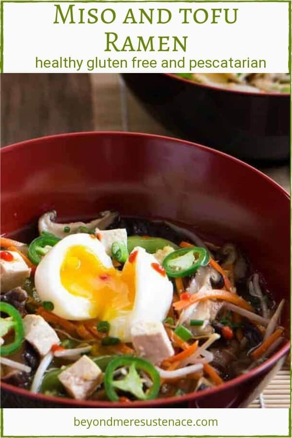 A pinterest pin with a big red bowl of miso and tofu ramen.