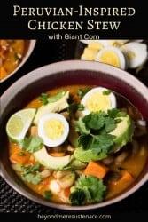 A Pinterest pin of Peruvian chicken stew (estofado de pollo Peruano) in a red ceramic bowl topped with hard-cooked egg and avocado.
