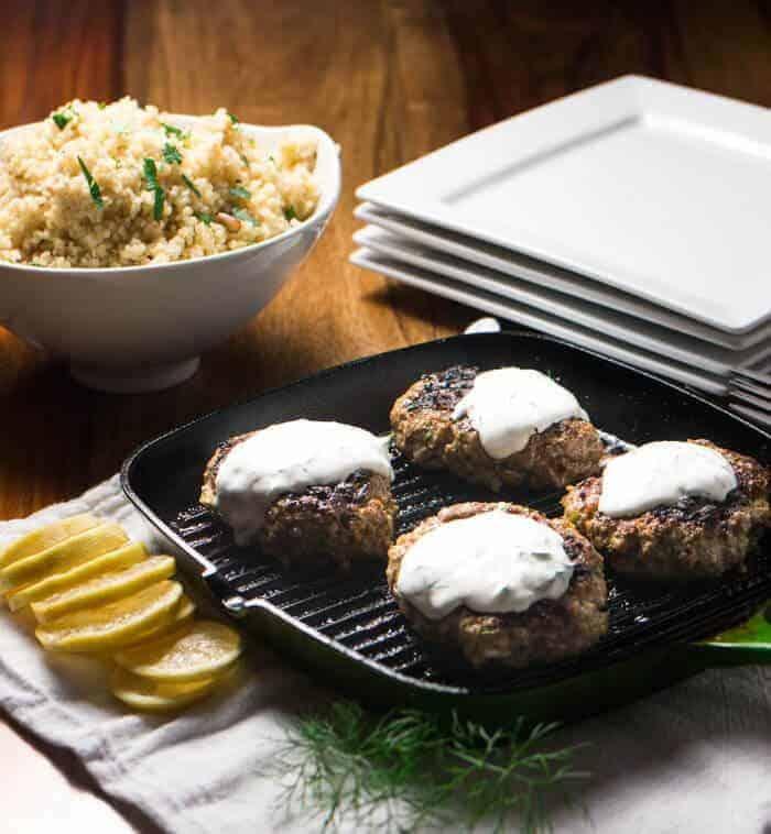 Greek Lamb Patties with Yogurt & Bulgur Pilaf