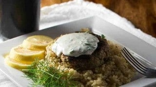 Greek Lamb Patties with Yogurt Sauce & Bulgur Pilaf