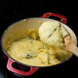 Basil Polenta in my Dutch oven ready to serve.