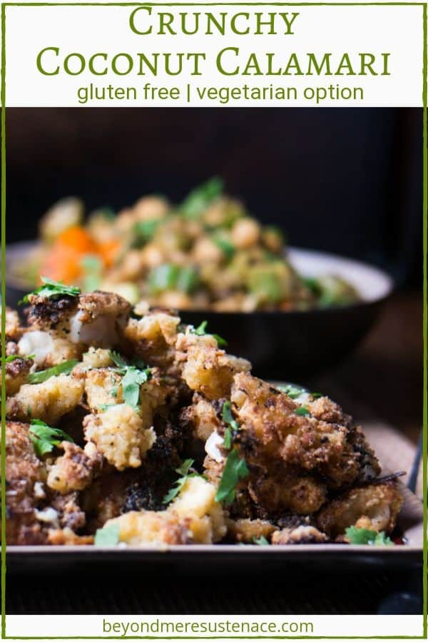 A pin of a platter of crunchy coconut calamari garnished with cilantro on a square plate.