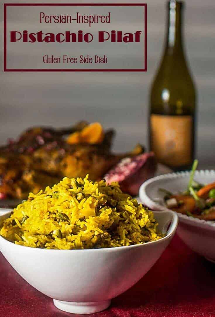 A lovely, simple Persian-inspired side dish to grace your holiday table,Persian-Inspired Pistachio Pilaf features tart zereshk (barberries), pistachios, and exotic spices in a greatly simplified version of an authentic Persian rice dish!