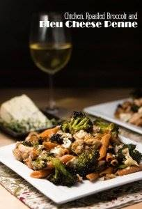 Chicken, Roasted Broccoli, and Bleu Cheese Penne has bold flavors that pair perfectly with bleu cheese. There's nothing subtle about this dish! Sun-dried tomatoes and toasted walnuts round out this unique and tasty one-dish meal! #pasta recipes #penne #chickenandpasta #vegetarianoption #roastedbroccoli #bleucheese #bluecheese