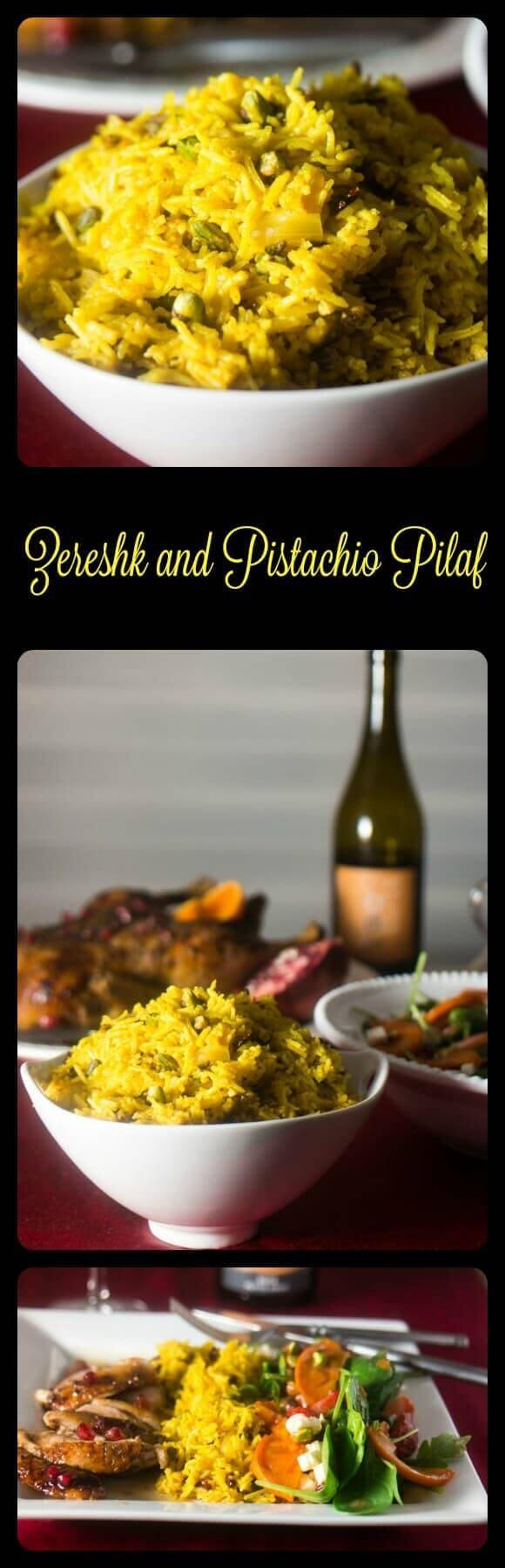 Zereshk and Pistachio Pilaf - Persian flavors sing in this delicious perhaps not authentic rice dish!