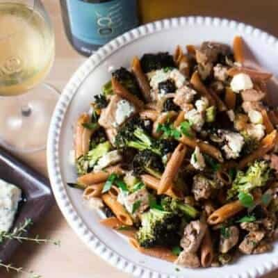 Chicken, Roasted Broccoli, and Bleu Cheese Penne