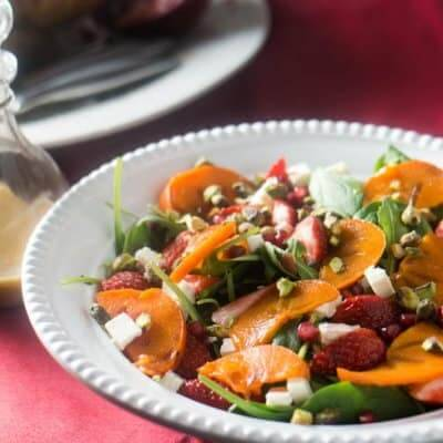 Spinach and Persimmon Salad with Citrus Vinaigrette (Christmas Menu Part III)