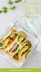 Pinterest Pin for Fried Oyster Tacos on a square white plate.
