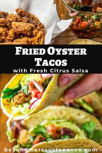 Fried Oyster Tacos with Citrus Salsa with one taco in hand.