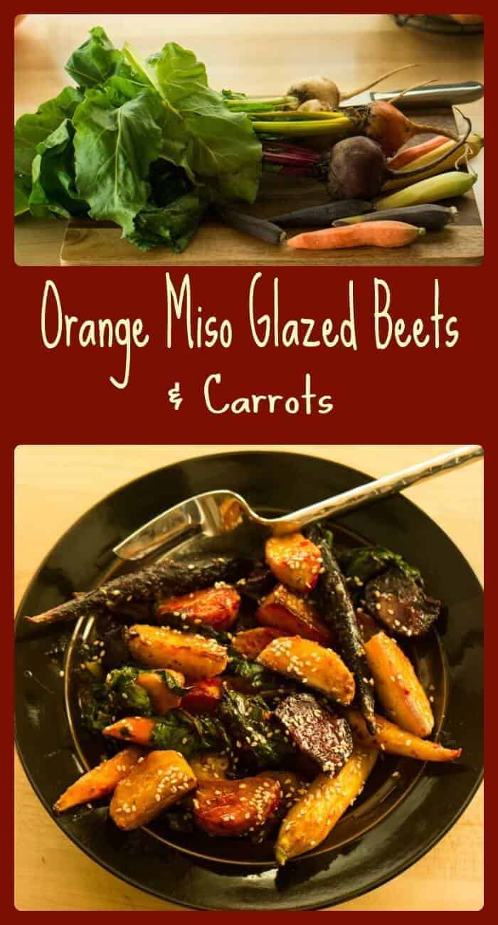 Orange Miso Glazed Beets and Carrots... A delicious Japanese inspired side dish with tangy umami flavors!
