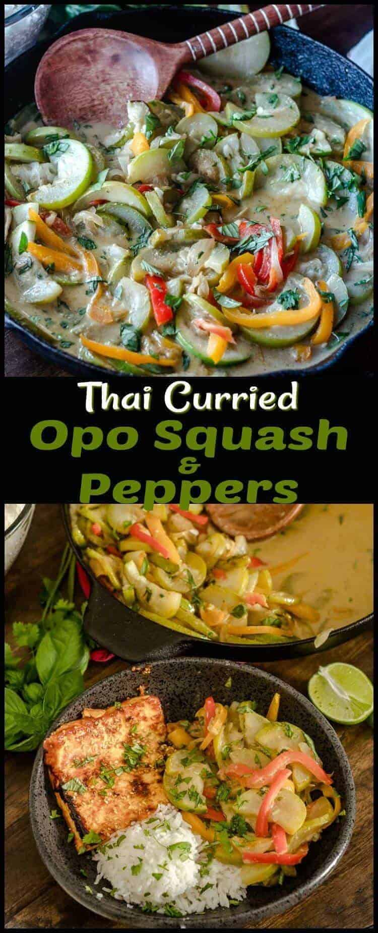 Thai Curried Opo Squash and Peppers - coconut milk and Thai curry paste flavor this healthy stir-fried dish! #oposquash #Thaiveggies #vegetablesides