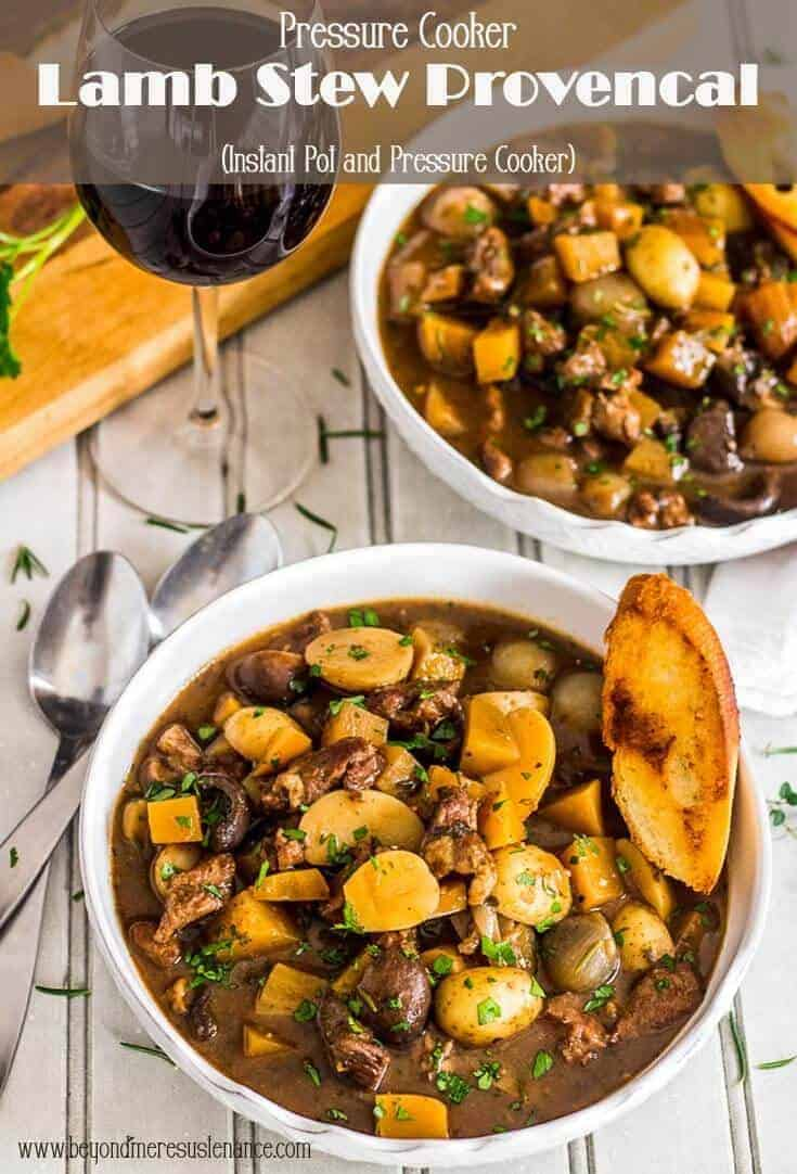 The flavors of the southern France region of Provence sing in this hearty lamb stew with root vegetables... Pressure Cooker Lamb Stew Provençal is fragrant with fresh rosemary and Herbes de Provence, and ready in an hour with your pressure cooker! #instantpot #pressurecooker #lambstew #provencalrecipes #instantpotstew #instantpotsoups #fallwinterrecipes
