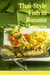 A pinterest pin of Thai fish in banana leaves.
