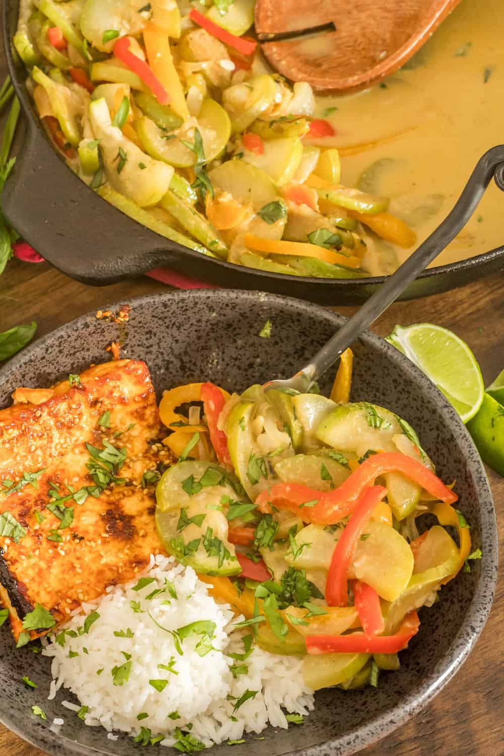 Thai Curried Opo Squash and Peppers Plated