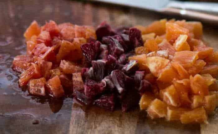 cara cara orange, blood orange, ruby red grapefruit prepped for the citrus salsa for tacos.
