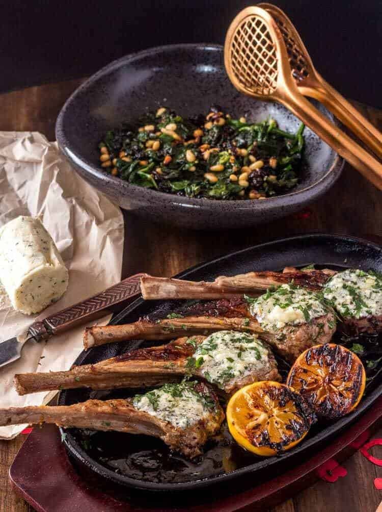 Grilled Lamb Chops With Bleu Cheese and Herb Butter Both Dishes