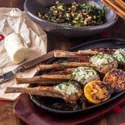 Grilled Lamb Chops With Bleu Cheese Herb Butter