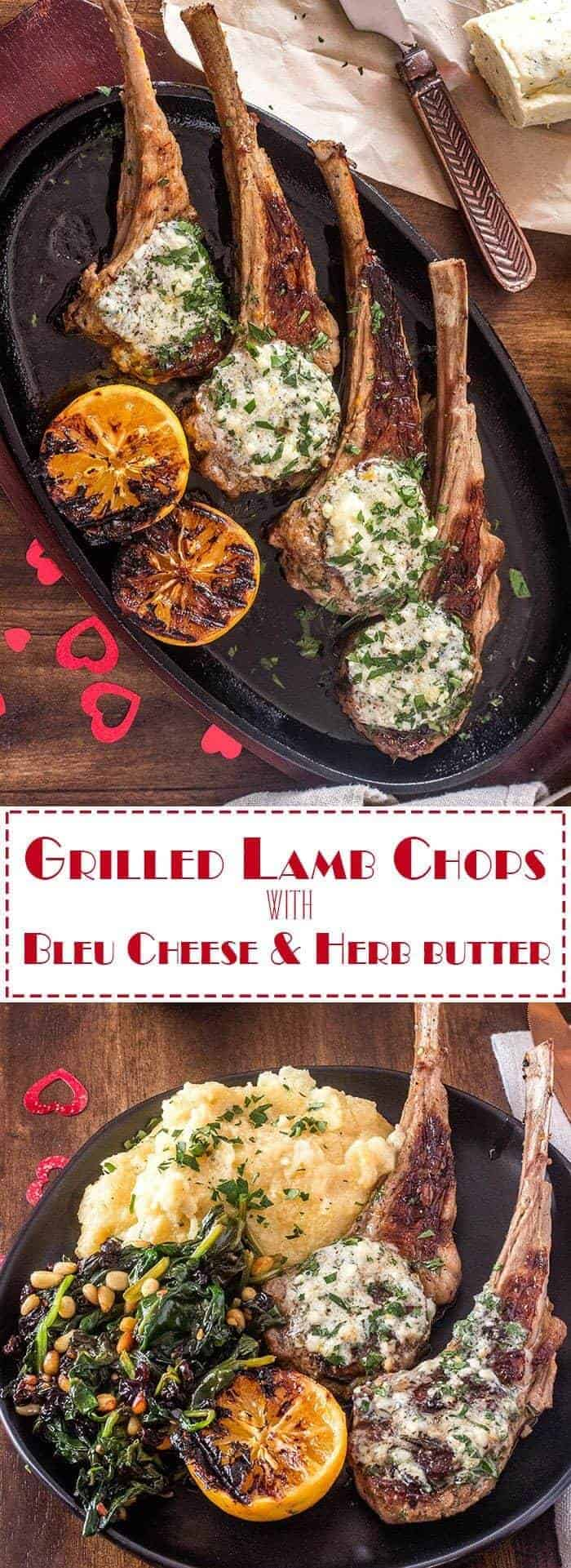 Grilled Lamb Chops With Bleu Cheese and Herb Butter will certainly tantalize the senses, and is a perfect main course for your romantic Valentine's dinner at home. Of course, it is also elegant enough for a dinner party, and while this recipe is written for two, it is an easy one to scale up! Valentine's Day Dinner for Two | Grilled Lamb Chops | Lamb and Bleu Cheese Butter | Low Carb Lamb Recipes | Dinner for Two | Lamb and Spinach | Roman Style Recipes