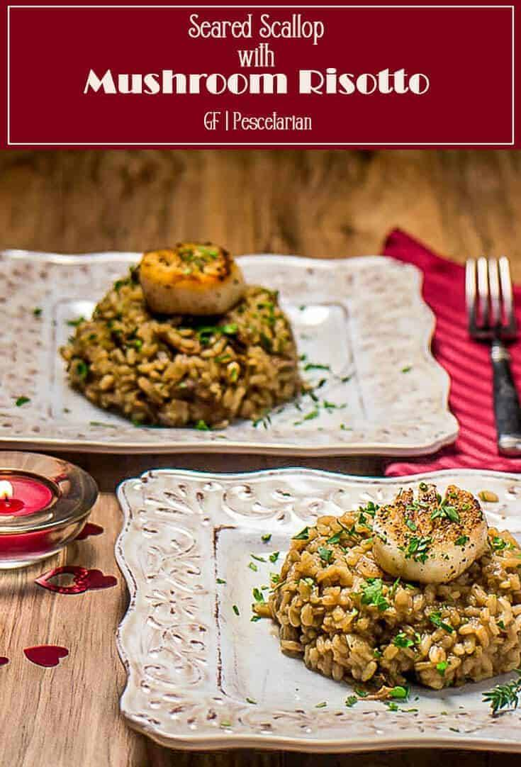 A perfectly seared scallop atop earthy, creamy mushroom-laden risotto... A perfect starter course for a special occasion, or a main dish with additional scallops! Seared Scallop With Mushroom Risotto is an elegant starter or show-stopping main dish with a salad or vegetable side! #glutenfree #scallopmushroomrisotto #mushroomrisotto #scalloprecipes #seafoodrisotto #Christmasmains #ValentinesDaymains #entertainingrecipes #startercourse #risottorecipes