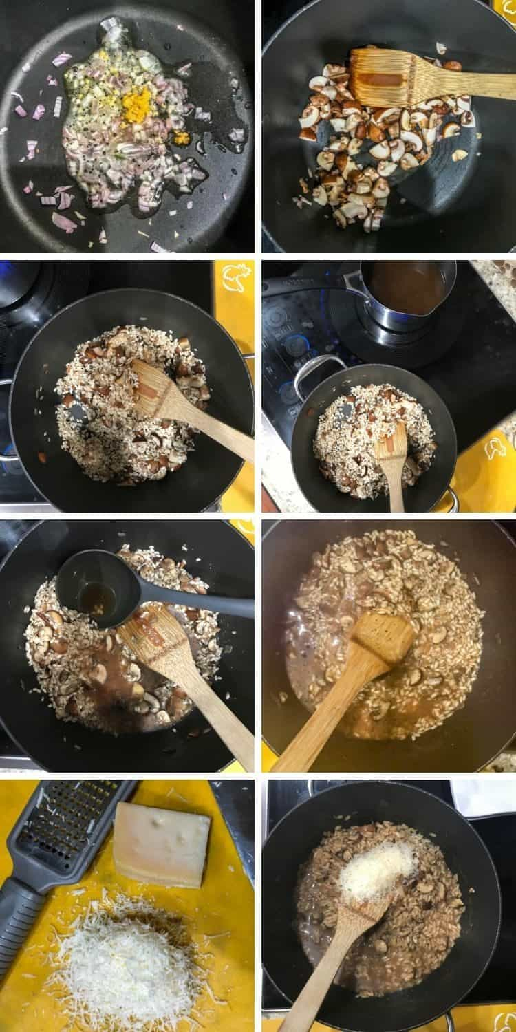 Cooking steps collage: 1. Saute aromatics. 2. Add mushrooms. 3. Add arborio rice. 4. Heat broth. 5. Add hot broth by ladles. 6. Continue to add hot broth and stir frequently. 7. Grate cheese. 8. Add cheese and stir to combine.