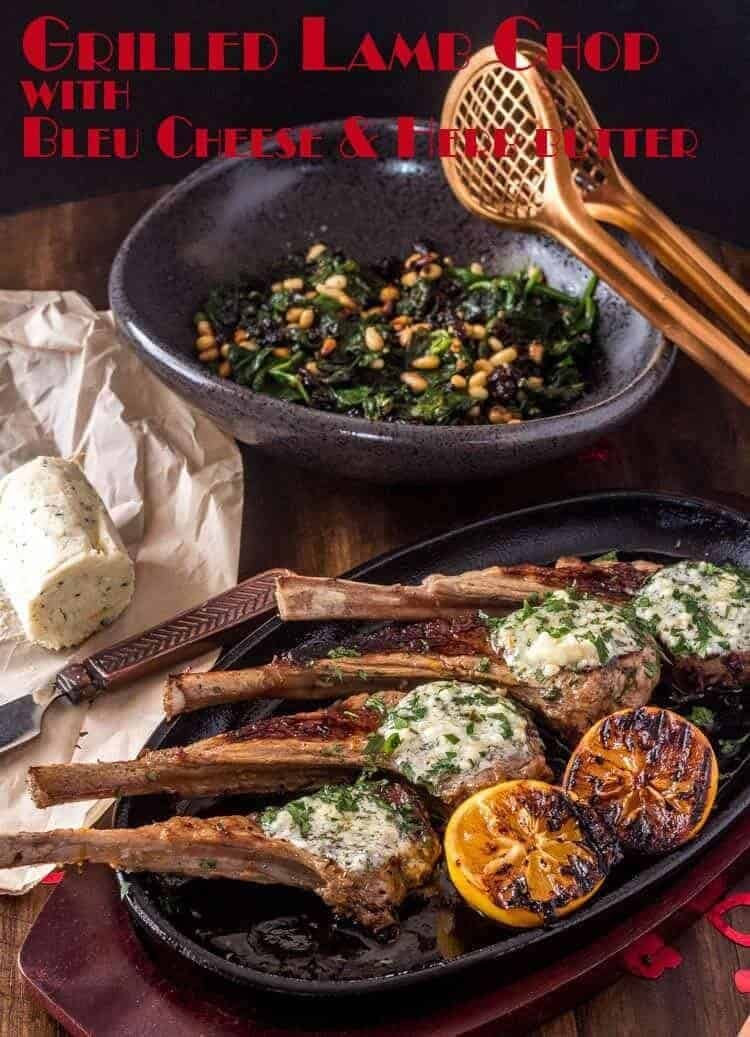Grilled Lamb Chops With Compound Butter will certainly tantalize the senses, and is a perfect main course for your romantic Valentine's dinner at home. Of course, it is also elegant enough for a dinner party, and while this recipe is written for two, it is an easy one to scale up! #ValentinesDaydinners #dinnerfortwo #grilledlambchops #lambwithcompoundubtter #lowcarblambrecipes #beyondmeresustenance #grilledlambrecipes #lambwithbleucheese