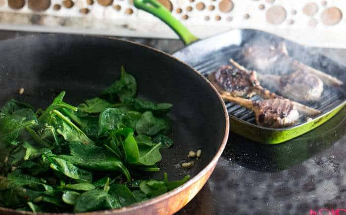 Grilled Lamb Chops With Spinach Roman Style
