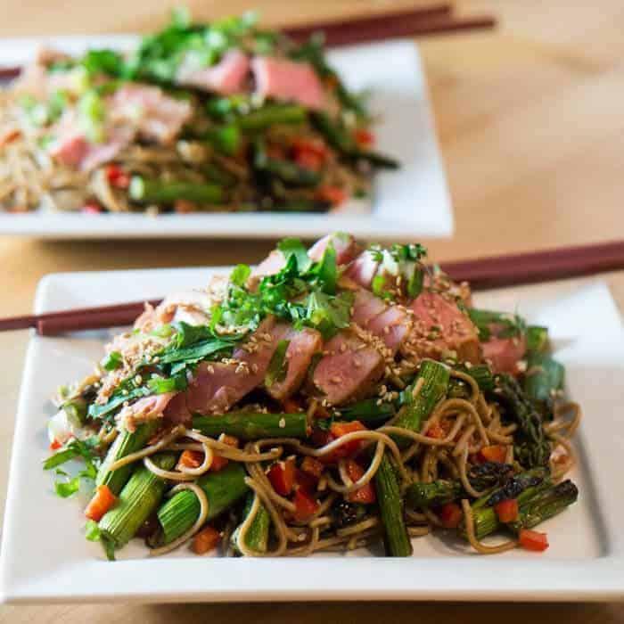 Miso Tuna, Grilled Asparagus, and Soba Salad