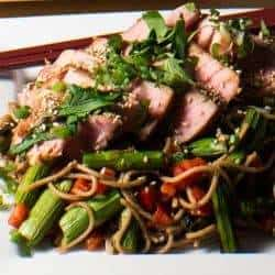 Miso Tuna and Grilled Asparagus Soba Salad