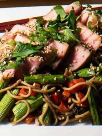 Miso Tuna and Grilled Asparagus Soba Salad