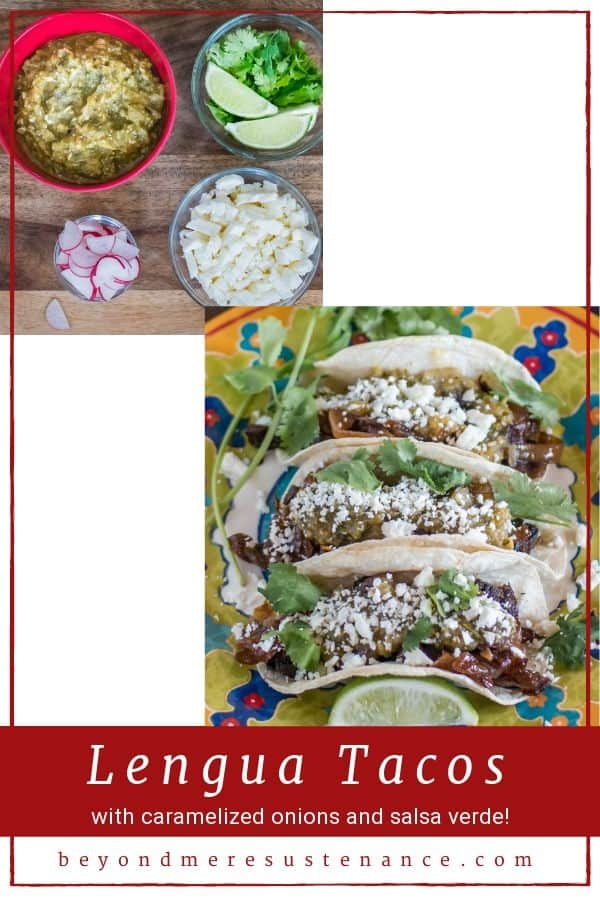 A collage of photos of lengua tacos with caramelized onions, cotija, and salsa verde.