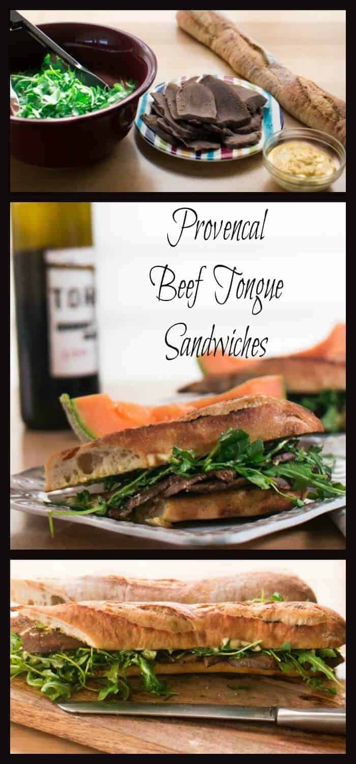 Provencal Beef Tongue Sandwiches - flavors of Provence (garlic, lemon, anchovy) complement flavorful beef tongue! Grilled baguette and lemony arugula complete this unusual sandwich!