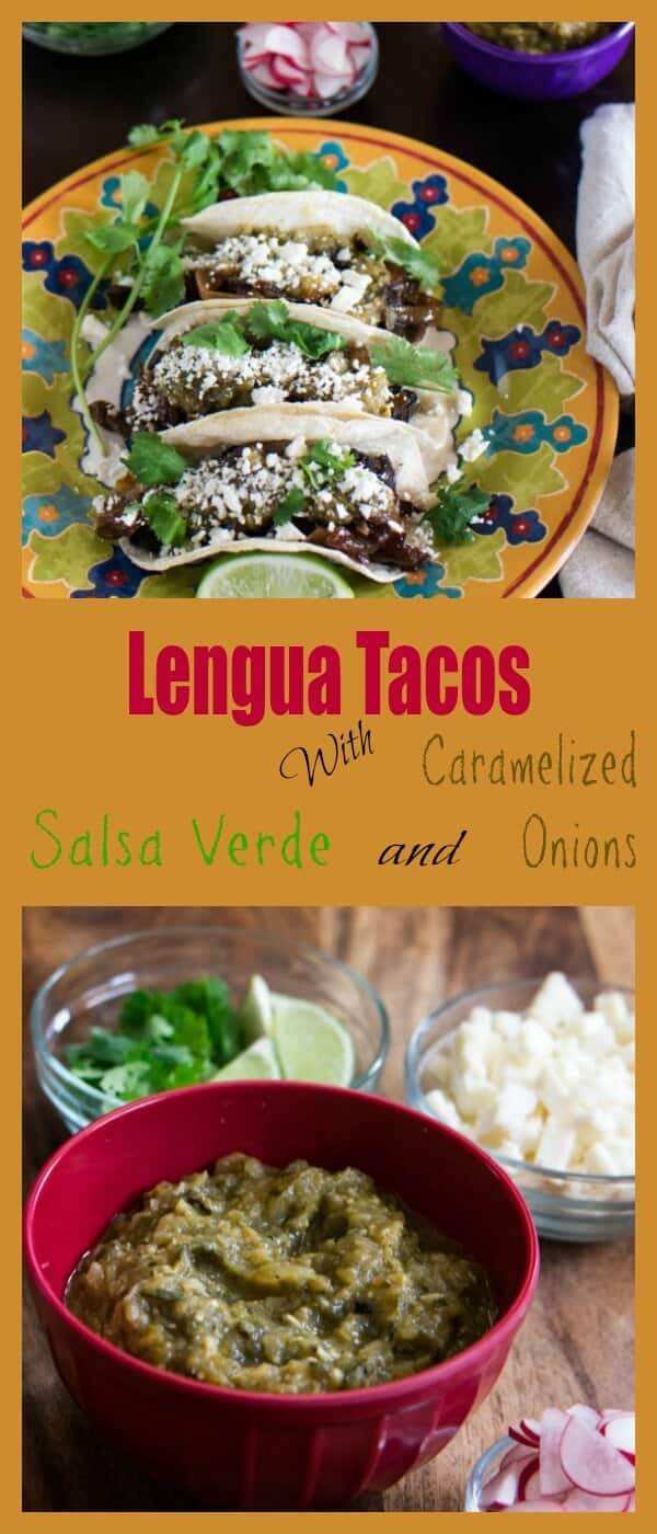 Lengua Tacos With Salsa Verde and Caramelized Onions - succulent crispy tongue in a fresh corn tortilla with piquant salsa verde, caramelized onions, cilantro, and crumbled cheese. Delicioso!