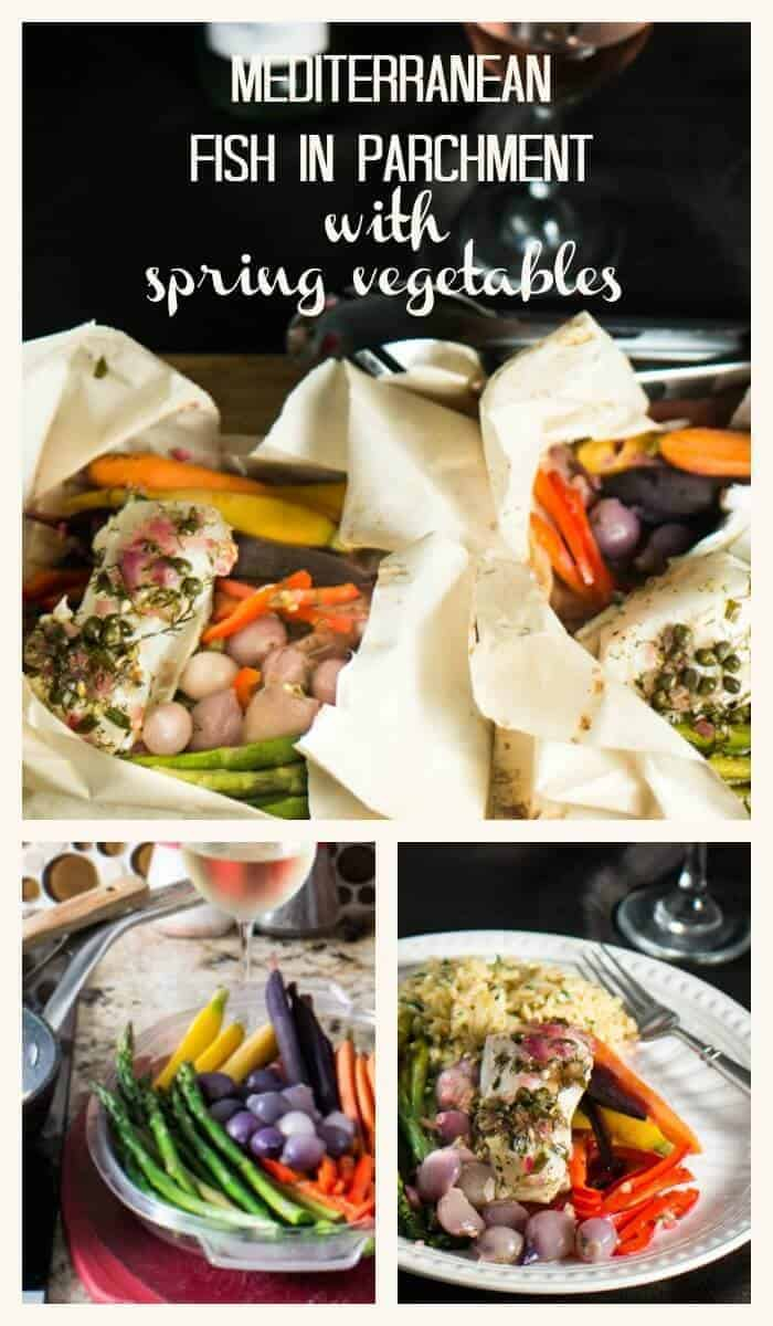 Mediterranean Fish In Parchment With Spring Vegetables - Vibrant Mediterranean flavors - dill, lemon, capers - evoke verdant spring images in this flavorful, healthy, and quick spring-time fish and vegetable dish!
