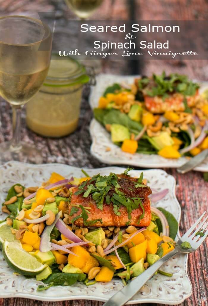 Seared Salmon and Spinach Salad With Ginger-Lime Vinaigrette - Spinach, mangoes, avocados, cashews, and red onion dressed with an Indian-inspired ginger-lime vinaigrette and topped with a seared and glazed salmon fillet... Quick and healthy! / www.beyondmeresustenance.com