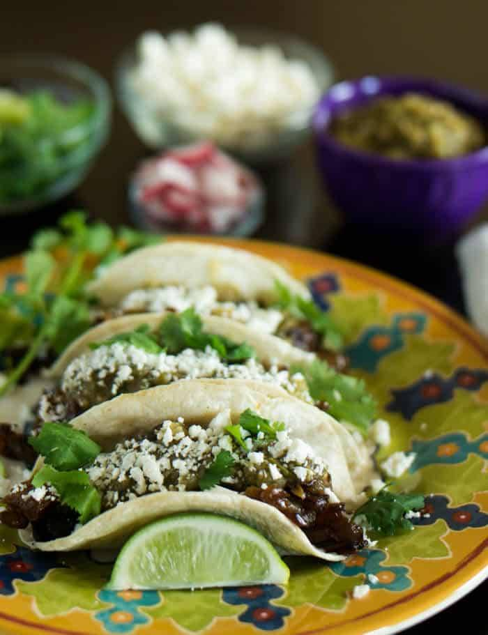 Lengua Tacos With Salsa Verde and Caramelized Onions