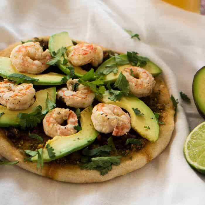 Mexican Green Chile and Shrimp Pizza