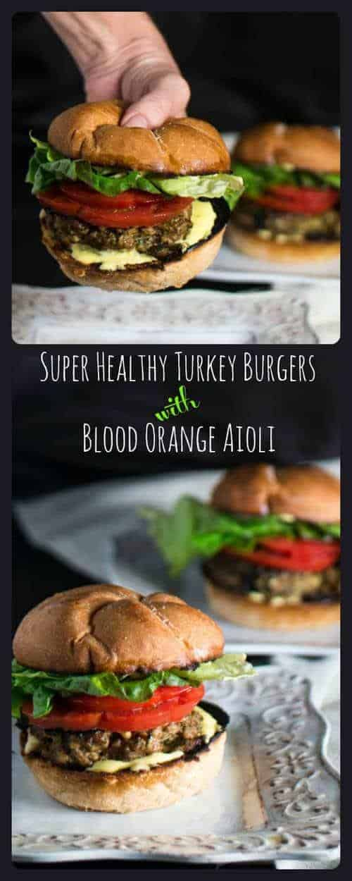 Super Healthy Turkey Burger - a healthy ground turkey patty flavored with cilantro, diced green chile, cotija, pinions, orange zest, and dressed with blood orange aioli!