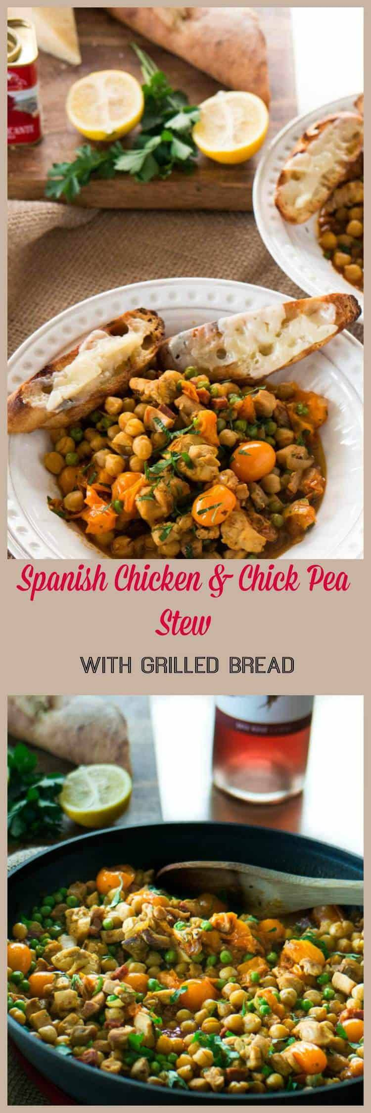 Spanish Style Chicken and Chick Pea Stew With Grilled Bread - Classic Spanish flavors - smoked paprika, saffron, garlic, sherry, parsley, tomatoes, chorizo - with chicken, chick peas, and grilled bread with manchego... On your table in 45 minutes or less!